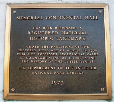 Memorial Continental Hall Marker image. Click for full size.
