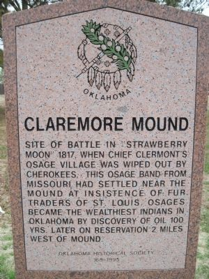 Claremore Mound Marker image. Click for full size.