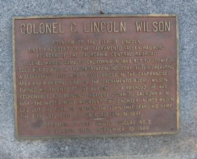 Colonel C. Lincoln Wilson Marker image. Click for full size.