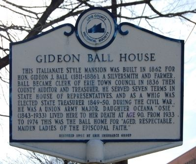 Gideon Ball House Marker image. Click for full size.