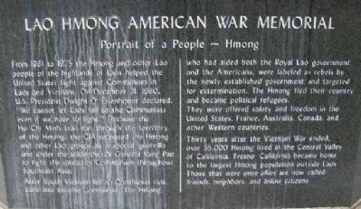 Lao Hmong American War Memorial Portrait image. Click for full size.