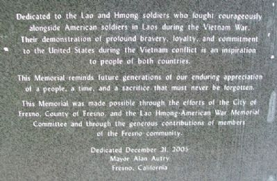 Lao Hmong American War Memorial Dedication image. Click for full size.