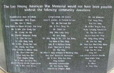 Lao Hmong American War Memorial Sponsors Photo, Click for full size