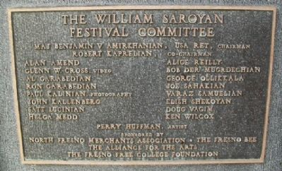 William Saroyan Festival Committee image. Click for full size.