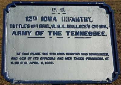 12th Iowa Infantry Marker image. Click for full size.