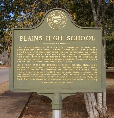 Plains High School Marker, Side 1 image. Click for full size.