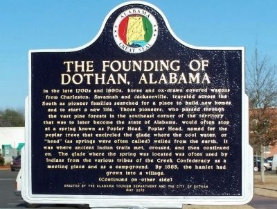 The Founding of Dothan Marker - Side A image. Click for full size.