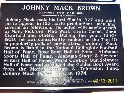 Johnny Mack Brown Marker, back image. Click for full size.