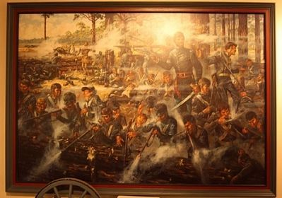 Dade Battlefield painting at Visitor Center image. Click for full size.