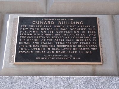 Cunard Building Marker image. Click for full size.