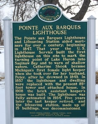 Pointe Aux Barques Lighthouse Marker image. Click for full size.