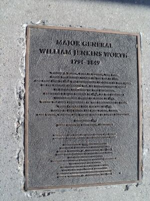 Major General William Jenkins Worth Marker image. Click for full size.