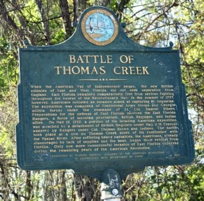 Battle of Thomas Creek Marker image. Click for full size.
