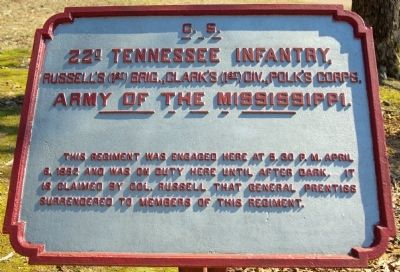 22nd Tennessee Infantry Marker image. Click for full size.