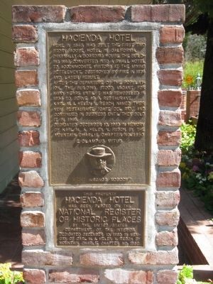 Hacienda Hotel Marker and NRHP Plaque image. Click for full size.
