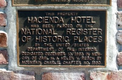 Hacienda Hotel NRHP Plaque image. Click for full size.