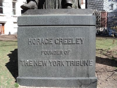 Horace Greeley Statue Inscription image. Click for full size.