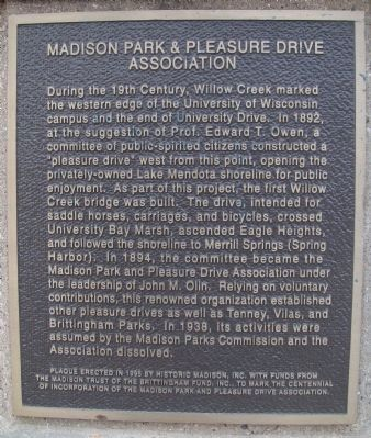 Madison Park & Pleasure Drive Association Marker Photo, Click for full size