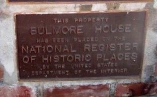 Bulmore House NRHP Plaque image. Click for full size.