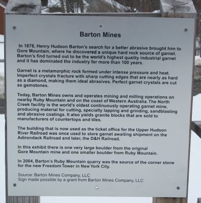 Barton Mines Marker image. Click for full size.