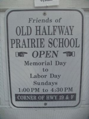 Sign on Front Door of Old Halfway Prairie School image. Click for full size.