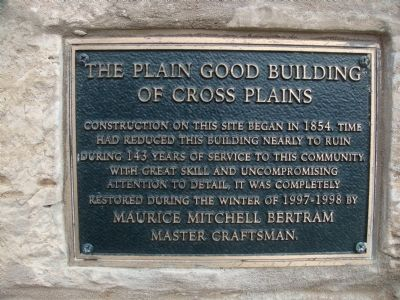 The Plain Good Building of Cross Plains Marker image. Click for full size.