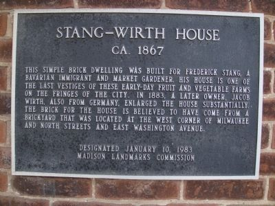 Stang-Wirth House Marker image. Click for full size.