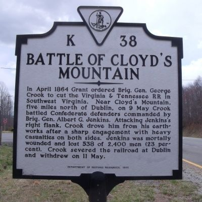 Battle of Cloyd's Mountain Marker image. Click for full size.