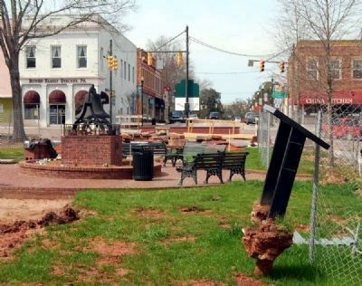 Abbeville Square Marker -<br>During 2011 StreetScape Renovation image. Click for full size.