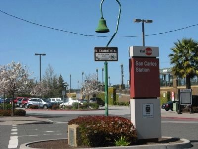 San Carlos Depot Marker and El Camino Real Bell image. Click for full size.