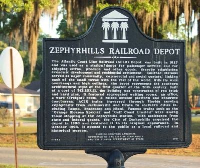 Zephyrhills Railroad Depot Marker image. Click for full size.