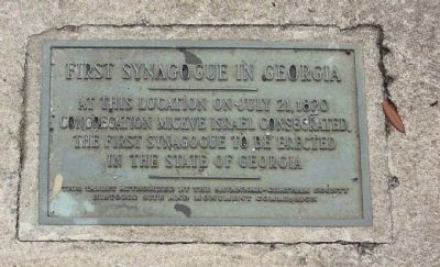 First Synagogue in Georgia Marker image. Click for full size.