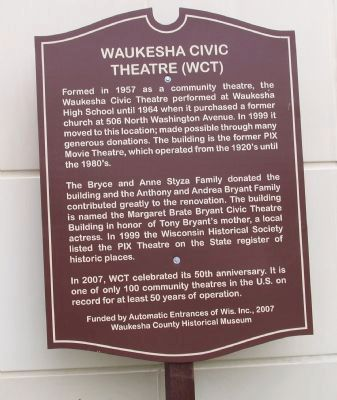 Waukesha Civic Theatre (WCT) Marker image. Click for full size.