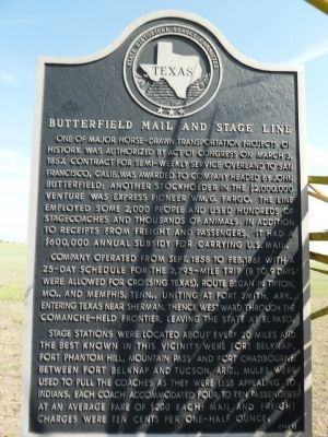 Texas State Butterfield Mail and Stage Line Marker image. Click for full size.