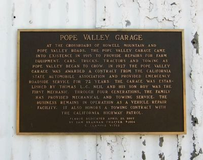 Pope Valley Garage Marker image. Click for full size.