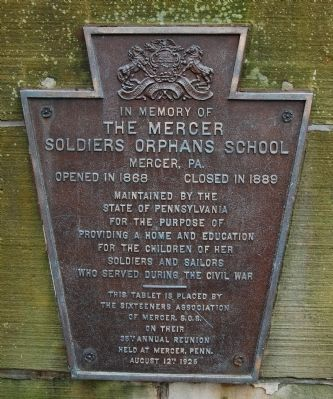 The Mercer Soldiers Orphans School Marker image. Click for full size.