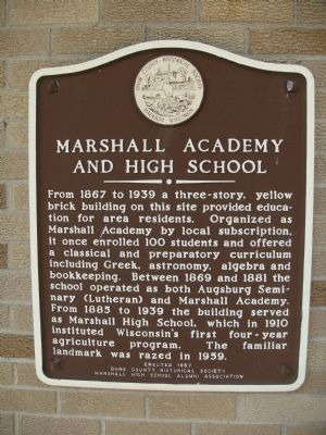 Marshall Academy and High School Marker image. Click for full size.