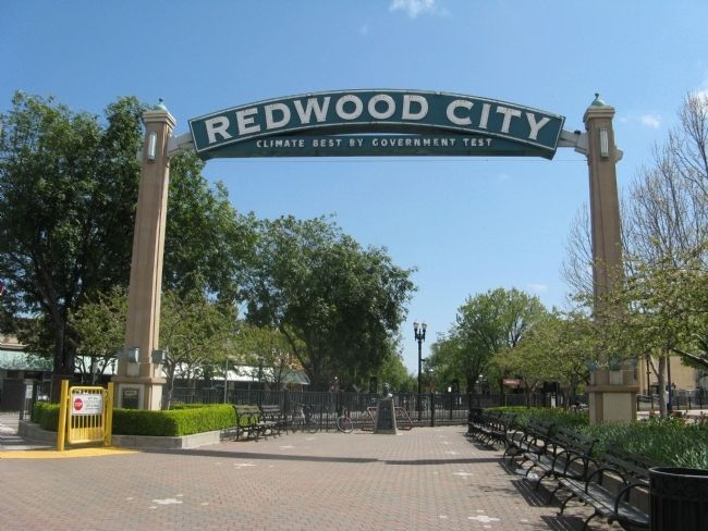 Redwood City Arch and Marker image. Click for full size.