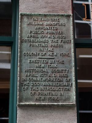 First Printing Press in New York Colony Marker image. Click for full size.