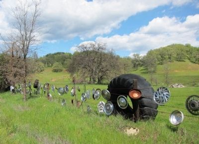 About a quarter mile of hubcaps line the east side of Pope Valley Road image. Click for full size.