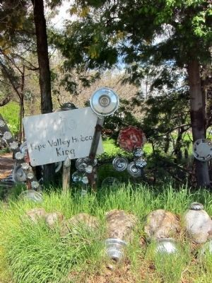 """Lito the Pope Valley Hubcap King"" - sign to the right of driveway image. Click for full size."