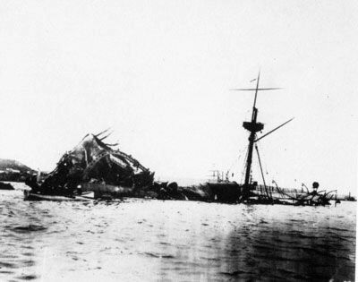 Wreckage of the USS Maine (ACR-1) image. Click for full size.