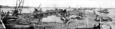 USS Maine wreckage in Havana Harbor image. Click for full size.