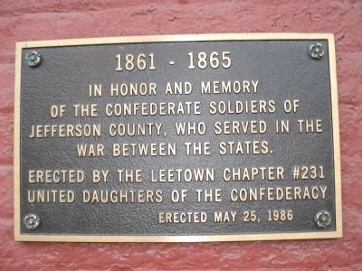 Confederate Soldiers of Jefferson County Marker Photo, Click for full size
