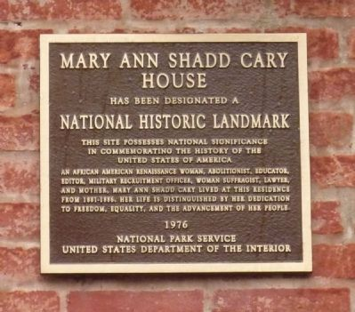 Mary Ann Shadd Cary Marker - Panel 1 image. Click for full size.