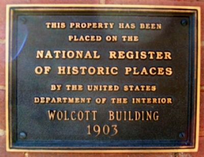 Wolcott Building Marker image. Click for full size.