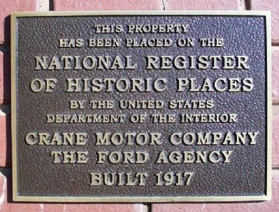 Crane Motor Company Marker image. Click for full size.