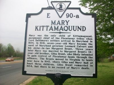 Mary Kittamaquund Marker Photo, Click for full size