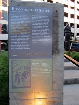 Reconciliation Statue Marker (east panel) image. Click for full size.