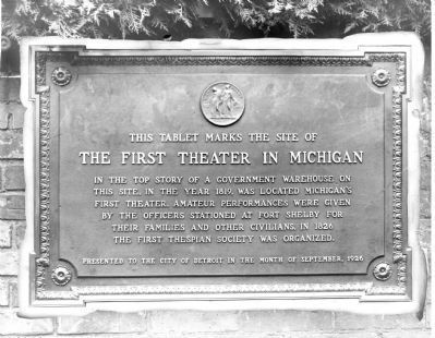 The First Theater in Michigan Marker image. Click for full size.